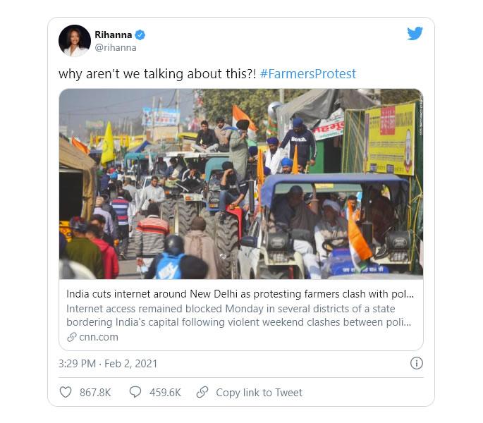 Perché la protesta degli agricoltori indiani è una crisi umanitaria - rihanna