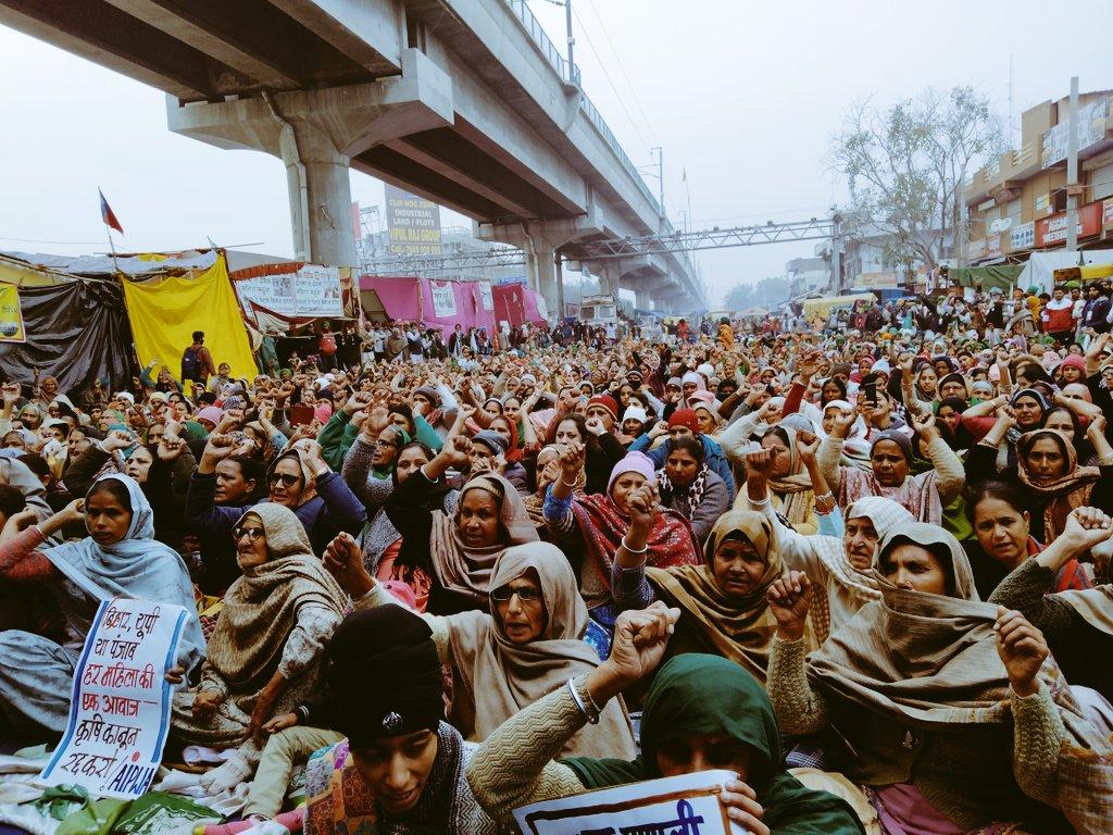 Mujeres rurales, durante las protestas en India. Foto: Inderjeet