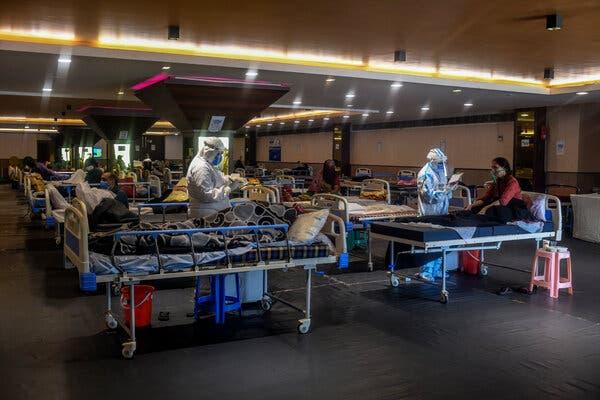 A makeshift Covid-19 care facility in New Delhi last month.