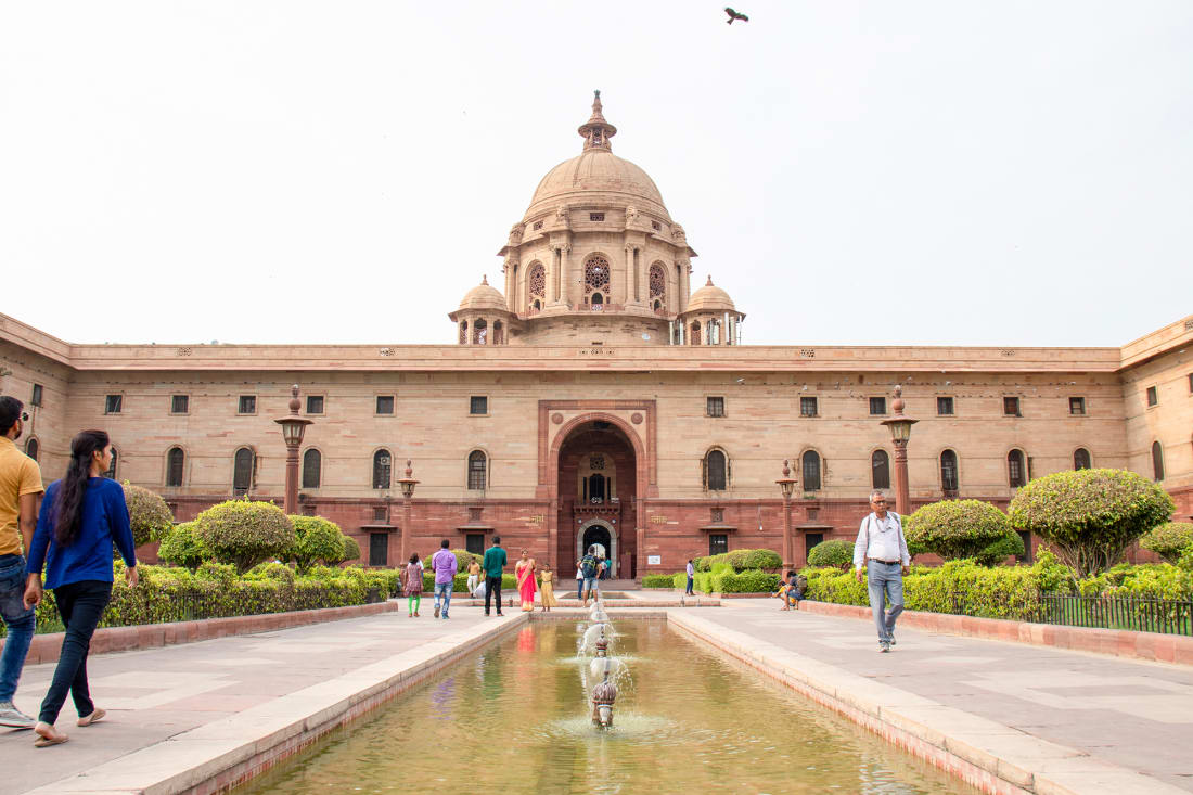 New Delhi, India - July 8, 2019: Official home of the Persistent of India, Rashtrapati Bhavan