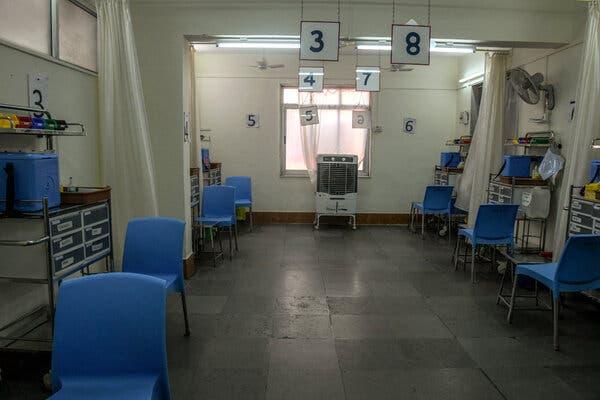 A deserted vaccination center in Mumbai.