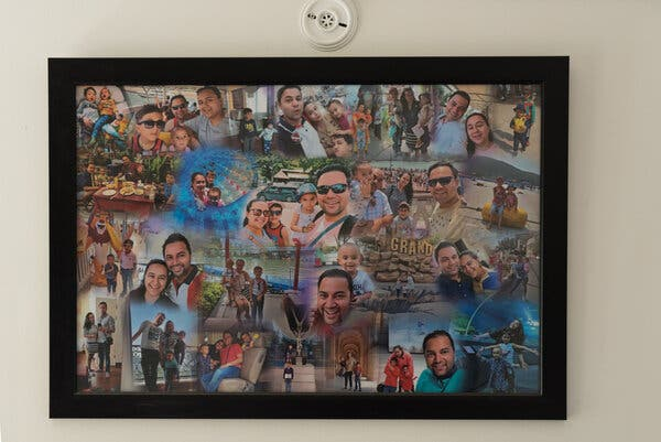 A collage of vacation photographs in Ashish Anand's apartment in Noida, a reminder of the good times the family once had.
