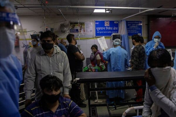 At a New Delhi hospital last week. The surge in new cases has stretched the health care system to the limit.