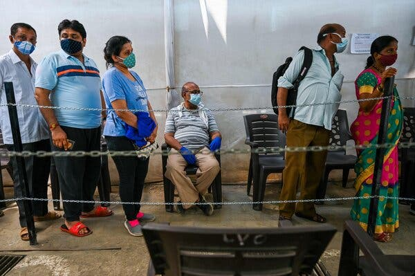 A vaccination center in Mumbai on Friday.
