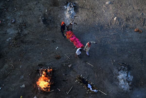 A mass cremation site on the banks of the Ganges river in Allahabad this month.