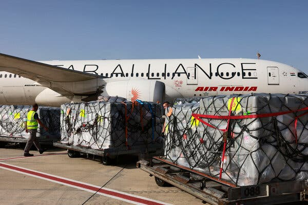 Medical aid for India from Israel waiting to be loaded at the Tel Aviv airport last week.
