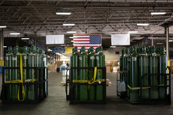 Oxygen tanks at Travis Air Force Base in California. The United States donated medical supplies and other items to India last month.
