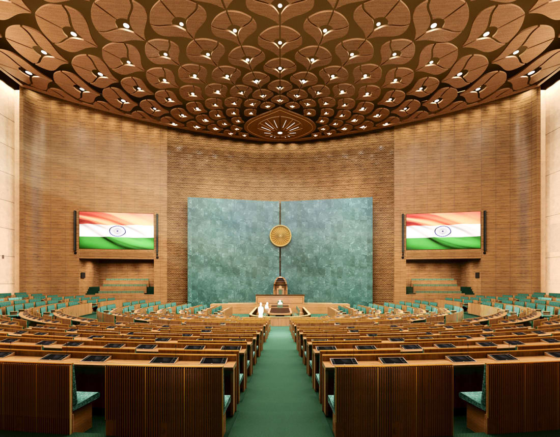 A digital impression of the new Lok Sabha, the Indian parliament's lower chamber.