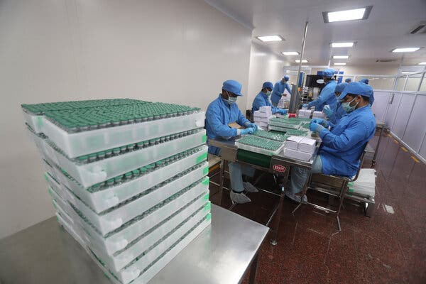 Vials of the AstraZeneca vaccine being packed at the Serum Institute of India in Pune in January.