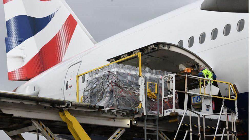 A British Airways plan loads cargo destined for India