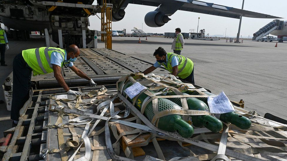 Oxygen ventilators are unpacked in Delhi