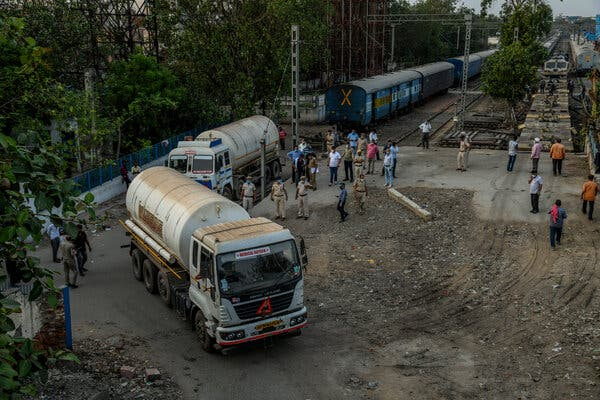 A cryogenic tanker carrying medical oxygen in New Delhi.