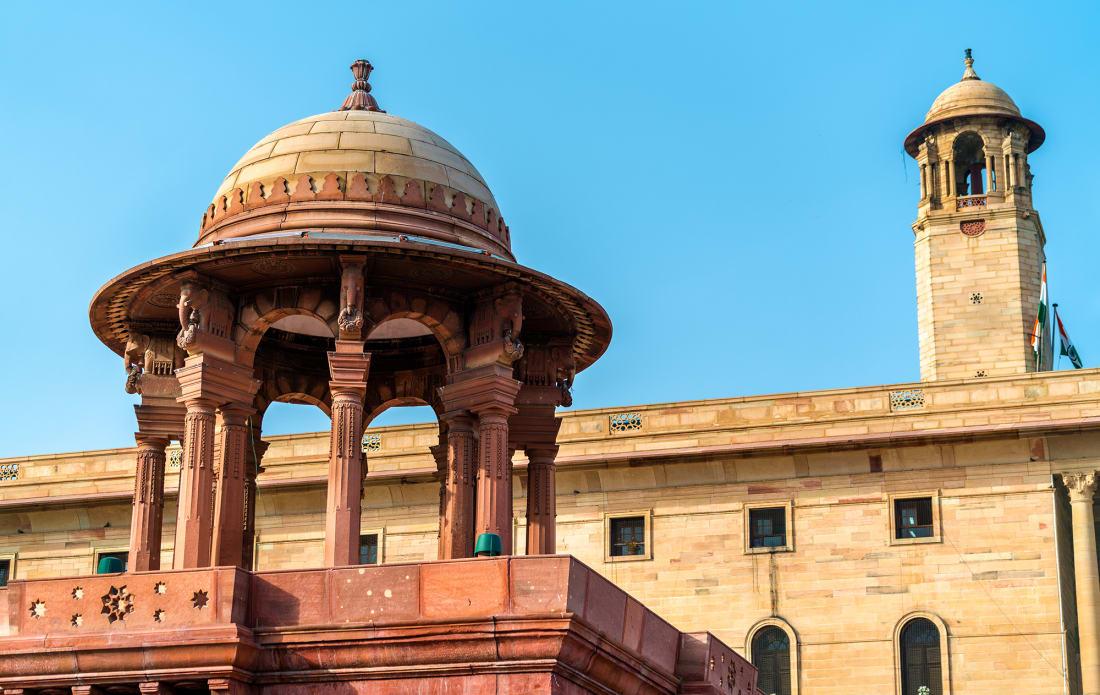 North Block of the Secretariat Building in New Delhi, the capital of India