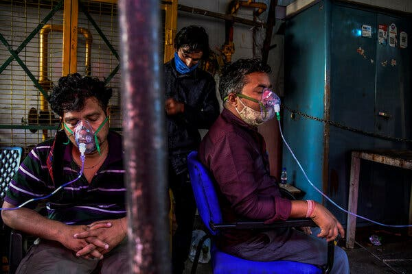 Receiving oxygen treatments for Covid-19 last month in Delhi.