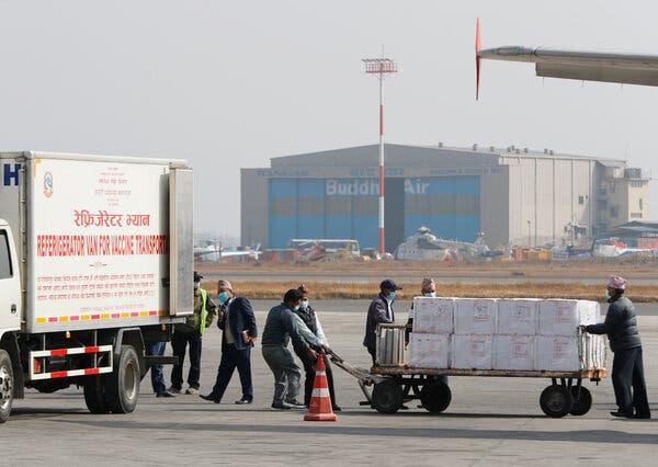 AstraZeneca doses manufactured in India arriving in Kathmandu, Nepal, in January.