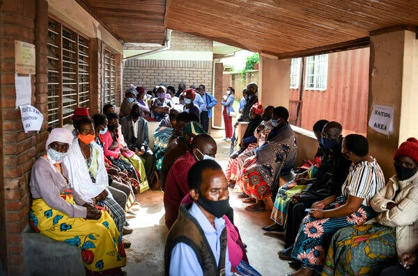 A vaccination center in Malawi, which has inoculated only 2 percent of its population.
