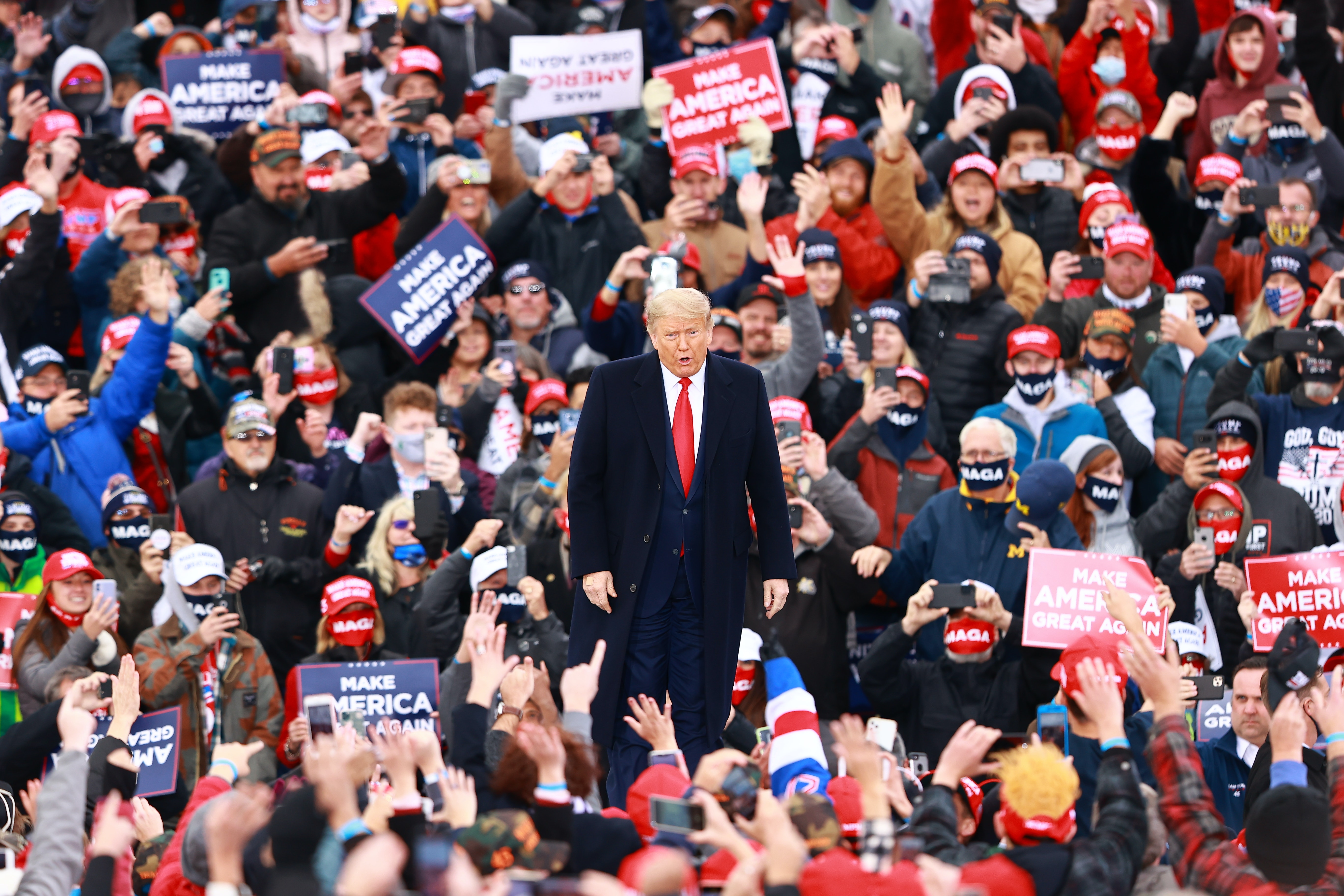 Trump in front of a crowd