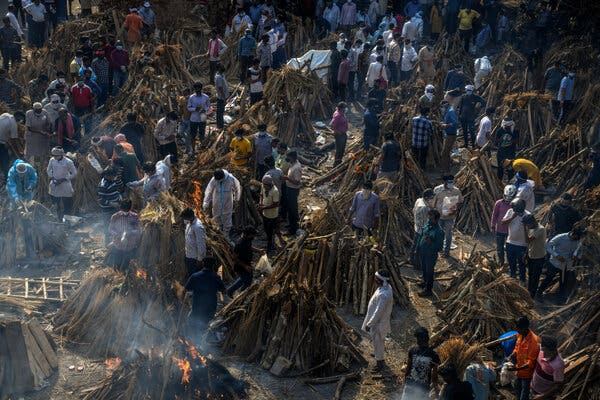 A mass cremation this week in New Delhi for people who died from the virus.